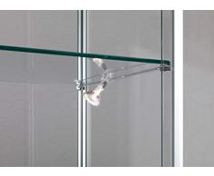 MHN kleine Aufsatzvitrine Glas beleuchtet - Tischvitrine Alu abschließbar grau 40 cm breit 25 cm tief