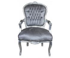 Casa Padrino Barock Salon Stuhl Grau/Silber - Möbel Antik Stil