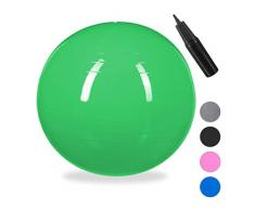 Relaxdays Unisex – Erwachsene Gymnastikball, Fitnessball Yoga & Pilates, Sitzball Büro, Balance Ball inklusive Luftpumpe, Ø 65 cm, grün, 1 Stück