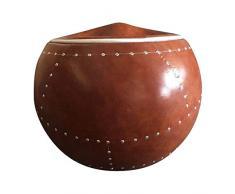 DESIGN AND VINTAGE Ball Chair façon Cuir Marron riveté