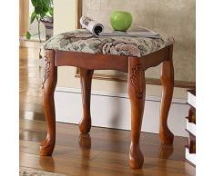 ZDAMN Klavierhocker Massivholz Klavierbank amerikanischer Stil Frisierstuhl Guzheng Tisch Maniküre Hocker, holz, mehrfarbig, 38x38x42cm