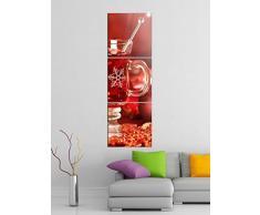 Leinwandbild 3tlg Weihnachten Tee Tisch Küche rot Bilder Druck auf Leinwand Vertikal Bild Kunstdruck mehrteilig Holz 9YA4692, Vertikal Größe:Gesamt 30x90cm