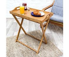 Relaxdays 10019136 Tabletttisch Bambus HBT 63,5 x 55 x 35 cm Beistelltisch mit Tablett für Frühstück und mehr Klapptisch plus Küchentablett als Serviertisch, Serviertablett Butler Tisch aus Holz, natur