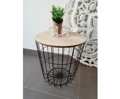 Meinposten Beistelltisch Nachttisch Tisch Korb mit Stauraum Couchtisch Metall Korb schwarz Holz Deckel