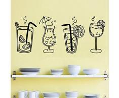 XCSJX Wand Vinyl Aufkleber Vier Cocktail Glas Getränke, verwendet für Küchenbar Restaurant Innenwand Dekoration Fenster Glas Aufkleber 57x24cm