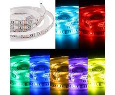 Salcar 2m Mehrfarbig led Streifen, flexibel erweiterbar, dimmbar RGB LED Strip inkl. Fernbedienung 12V netzteil für Decke BarTheke Schrank TV Beleuchtung