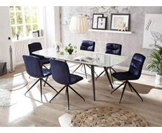 22458-7tlg Essgruppe/Glas/Blau Glastisch ausziehbar Esstisch Stühle