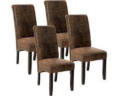 TecTake 4er Set Esszimmerstuhl Kunstleder Stuhl mit hoher Rückenlehne, ergonomische Form, Stuhlbeine aus Hartholz massiv, 106 cm hoch - Diverse Farben - (Antik Braun   Nr. 403500)