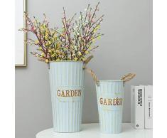 Yardwe Französisch Blume Eimer Bauernhaus Dekorative Vasen Vintage Shabby Chic Metall Blumenvasen Tisch Herzstück für Zuhause (40Cm)