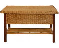 Rechteckiger Rattan-Tisch / Couchtisch mit Holzrahmen in der Farbe Honig
