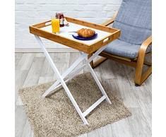 Relaxdays 10019176 Tabletttisch Holz und Bambus HBT 72 x 60 x 40 cm Beistelltisch mit Tablett und Gestell Klapptisch plus Serviertablett Küchentablett Butler Tisch als Stehtablett oder Tablettständer, weiß