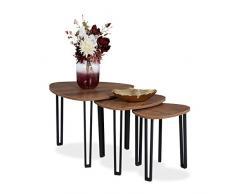 Relaxdays Beistelltisch 3er Set, dreieckig, Industrial Design, stapelbar, Satztische 3 Größen, Metall, Holzoptik/schwarz, 1 Stück