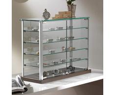 MHN kleine Aufsatzvitrine Glas - Tischvitrine Alu abschließbar braun 65 cm breit 25 cm tief