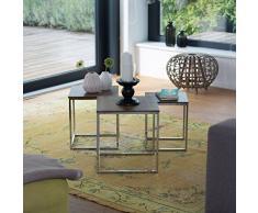 Relaxdays Beistelltische 3er Set, Couchtisch, Holz, Metall, Satztische, modernes Design, HxBxT: ca. 42 x 40 x 40 cm, natur