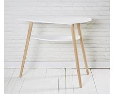 Wholesaler GmbH Weißer Konsolentisch aus Holz mit Zwei Ebenen im skandinavischen Retro Look 95 x 35 x 80 cm - Nierentisch Anrichte Sideboard Wandtisch