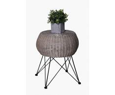 Vivanno Sitzhocker Hocker Tisch Beistelltisch Rattan Selva Fine 50x43 cm, Koobo Grey