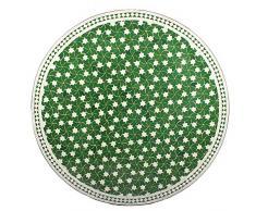 Marokkanischer Mosaiktisch ø 120cm rund Gartentisch Fliesentisch Esstisch mediterraner Mosaik - Tisch (Maar: grün/weiss)