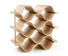Küchenzubehör Weinhalter Rack- 8 Flasche Holz Wave Weinregal Freistehend für Tischbar oder Theken Modernes minimalistisches Design Einfache Montage Süße und trockene Weine für kleine Hausbars