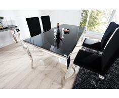 Casa Padrino Luxus Esszimmer Set Schwarz/Silber - Esstisch 200 cm + 4 Stühle - Luxus Qualität - Modern Barock
