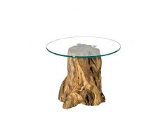 Pharao24 Baumstumpf Beistelltisch mit runder Glasplatte Teak massiv Höhe 50 cm