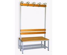 Sitzbank für Umkleide mit Garderobenrückwand (2-seitig) inkl. 2 x Sitzbänke, HxBxT:170x100x60 cm, mit Schuhrost, Marke: Szagato (Umkleidesitzbank, Umkleidebank, Garderobenbank, Echtholz)