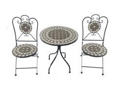 Terassenset Mosaik Eisen 2 Stühle und 1 Tisch Duchmesser Tisch ca. 61cm