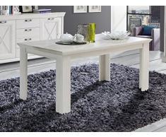 Esstisch Kasimir 10 Pinie weiß 160(207)x90x75 cm Esszimmertisch Speisetisch Tisch Esszimmer Landhausmöbel Landhausstil