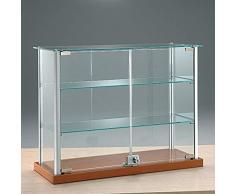 MHN kleine Aufsatzvitrine Glas - Tischvitrine Alu abschließbar kirschbaumfarbig 65 cm breit 25 cm tief