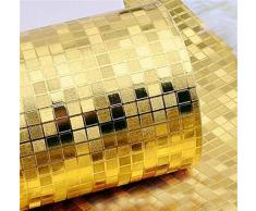 Wasserdichte 3D-Mosaiktapete Aus Goldfolie Goldenes Silber KTV Bartheke Gitter Goldfolientapete (Size : Silver)