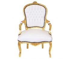 Casa Padirno Barock Salon Stuhl Weiß/Gold - Möbel Antik Stil