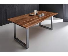 SAM Esszimmertisch 240x100 cm Quintana, echte Baumkante, nussbaumfarben, massiver Esstisch aus Akazienholz, Metallbeine Silber, Baumkantentisch