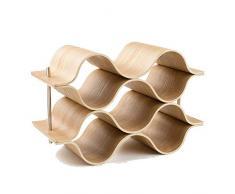 Weinregal 5 Flasche Holz Wave Weinregal Freistehend für Tischbar oder Theken Modernes minimalistisches Design Einfache Montage Süße und trockene Weine für kleine Hausbars Hauptküchen Dekoration