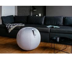 Hock Design VLUV LEIV Stoff-Sitzball, Fitnessball, Gymnastikball, Medizinball, Pezziball für Das Büro oder zu Hause 65cm, ergonomisch - in Silver
