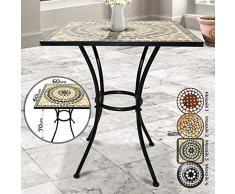 Jago Mosaiktisch - quadratisch, Stahl, 60x60cm, Creme-Schwarz-Weiß - Balkontisch, Gartentisch, Bistrotisch, Beistelltisch, Balkonset, Bistroset, Mosaikmöbel für Terasse