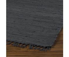 Home4You Flickenteppich Wohnzimmerteppich Handwebteppich Franken Dunkelgrau | 80x150 cm | Grau | Baumwolle