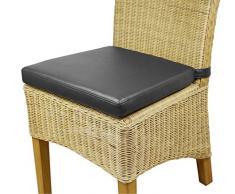 6x Sitzkissen Sitzpolster Stuhlkissen aus Kunstleder schwarz