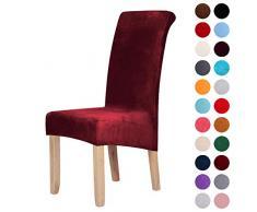 Stuhlhussen aus Samt, Stretch, Elastan, Plüsch, kurz, einfarbig, für große Esszimmerstühle, Stuhlschutz, Heimdekoration, Samt, weinrot, Set of 6 (Large)