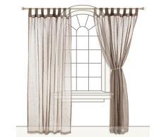 URBANARA Vorhang Cotopaxi - 100% reiner Leinen, Taupe mit Schlaufen - 140 x 280 cm, einzelner Schal