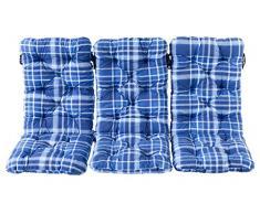 Ambientehome 3er Set Hochlehner Auflage Kissen Hanko Maxi, kariert blau, ca 120 x 50 x 8 cm, Rückenteil ca 70 cm, Polsterauflage