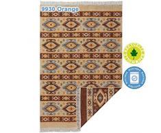 mynes Home Teppiche aus Baumwolle mit Fransen Waschbarer Teppich wendbar Fleckerl Flickenteppich Webteppich Waschbar mit Läufer 100% recycelter Baumwolle, Farbe: 9930 Orange, Größe: 70 cm x 140 cm