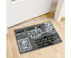 Relaxdays Fußmatte Kokos POSTKARTE 40 x 60 cm Kokosmatte mit rutschfestem Boden Fußabtreter aus Kokosfaser als Schmutzfangmatte und Sauberlaufmatte Fußabstreifer für Außen und Innen Matte, anthrazit