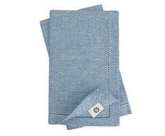 Linen & Cotton Luxus 4 x Stoffservietten mit Hohlsaum Scandi, 100% Leinen - 44 x 44cm (Dunkelblau)