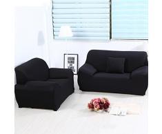 Sofa Überwürfe Sofabezug stretch elastische Sofahusse Sofa Abdeckung in verschiedene Größe und Farbe (2 Sitzer für Sofalänge 140-185cm, Schwarz)