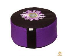 Yogabox Meditationskissen Glückssitz Rondo Lotus Om Stick lila/schwarz