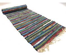 Second Nature recycelte Baumwolle indischen Chindi Flickenteppich Läufer Multi Farbe 60 cm x 245 cm