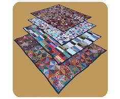 Patchwork Tagesdecke Bett-Überwurf Patchworkdecke Steppdecke Quilt Shabby Decke Überdecke Handarbeit Doppelbett Farbe Motiv 1
