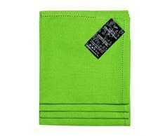 Homescapes Servietten Set 4 teilig grün unifarben 45 x 45 cm aus 100% reiner Baumwolle, Stoffservietten