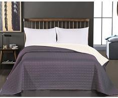 DecoKing Premium 11874 Tagesdecke 200 x 220 cm Ecru Stahl Bettüberwurf Kreisen zweiseitig pflegeleicht Salice