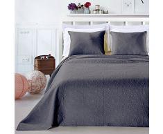 DecoKing Premium 12758 Tagesdecke 220 x 240 cm Graphit Stahl mit 2 Kissenbezügen 50x60 cm Bettüberwurf Pflanzen pflegeleicht Elodie