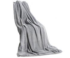 CelinaTex Quebec Kuscheldecke XXL 200 x 220 cm Silber Coral Fleece Tagesdecke Mikrofaser Sofadecke federleicht